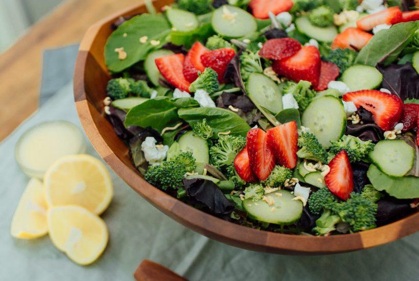 summer salad with strawberries and lemon vinaigrette