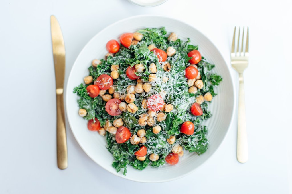healthy kale caesar salad with tahini dressing recipe