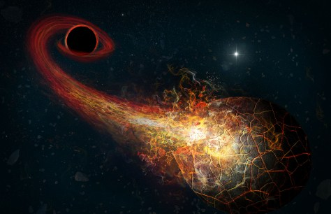 Artist's conception of accretion flares resulting from the encounter of an Oort-cloud comet and a hypothesized black hole in the outer solar system. This might explain the Planet 9 that planetary scientists have tried to find. Credit: M. Weiss