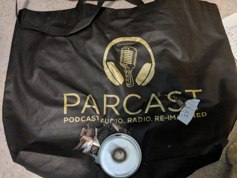 burned parcast bag from podcast movement