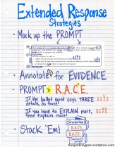 In our class, we've emphasized the extended response as stacking short response paragraphs. However, we do want to caution our students to not just apply the RACE strategy blindly to all short responses and extended responses. There is certainly a place for structure, but it becomes tricky when students apply it absentmindedly.