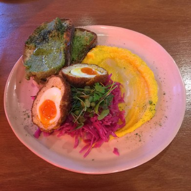 'Free Range Chicken and Kaffir Lime Scotched Egg, Pickled Red Cabbage, Spiced Pumpkin Puree and Coriander Pesto served on Sourdough' ($19)