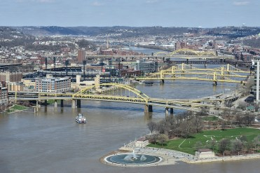 A look up the Allegheny River. Point State Park is on the tip of land in foreground with Fort Duquesne