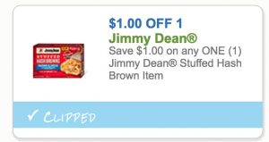 $1/1 Jimmy Dean Stuffed Hash Brown Coupon