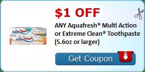 $1 Aquafresh Toothpaste Coupon