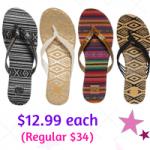 Roxy Sandals $12.99 each + FREE Shipping (Regular $34.00)