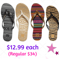 Roxy Sandals $12.99 each + FREE Shipping (Regular $34.00)