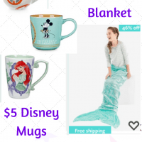 Disney Mugs $5 and Mermaid Blanket $10.95 + FREE Shipping