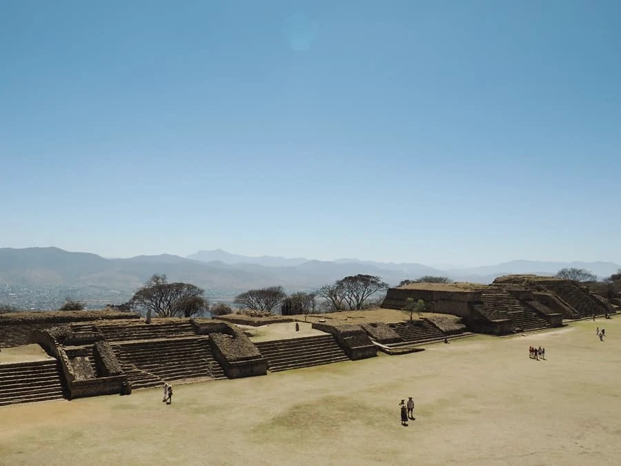 Monte Albán archaeological site: Monte Albán was once the economic center for Mesoamerica for 1,000 years. The site is breathtaking and definitely one to see in Mexico! The mountain was cleared and this is a picture where the historic ball games were performed that ended in sacrifices. | via The Spirited Violet