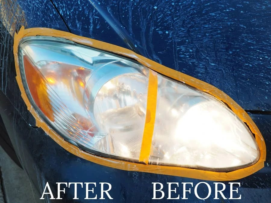 DIY Headlight Restoration: Despite cleaning the rest of the car, we found that we really needed to find a way to detail our headlights. We used a Black & Decker drill for this easy to do project! | via The Spirited Violet