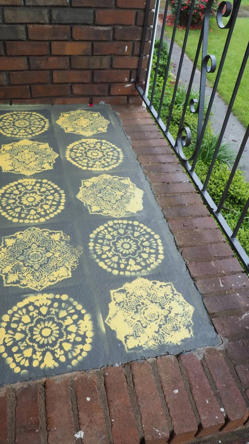 Here is my stencil on the porch Pinterest Fail in living color! It was repainted as soon as everything dried. | via The Spirited Violet