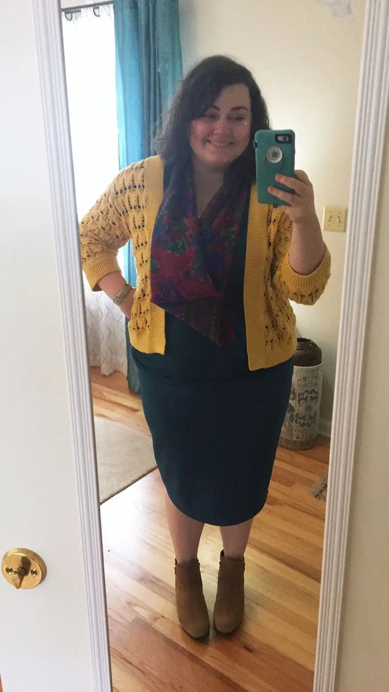 thrifted and dyed sweater + vintage scarf + top and bottom from Amazon | via The Spirited Violet