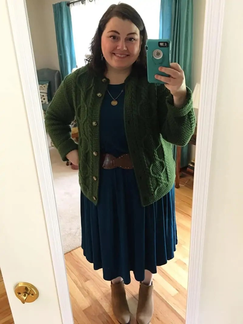 cardigan sweater + belt + dress from Amazon | via The Spirited Violet