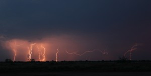 One lightning strike went horizontally