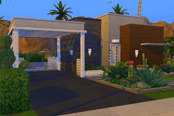 Tiny home in The Sims 4 Oasis Springs designed with the Tiny Living stuff pack