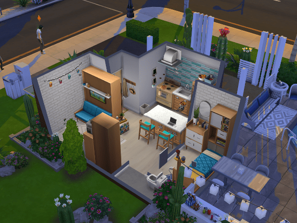 Interior of a Sims 4 tiny house build from the Tiny Living stuff pack