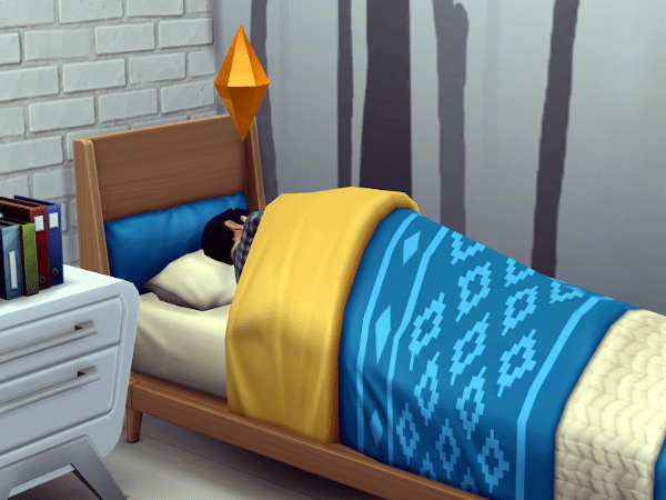 Sad Sim crying in bed