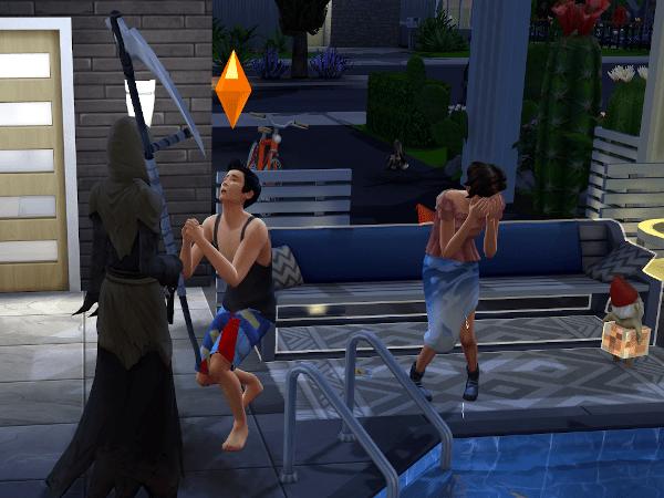 Sim pleading with the grim reaper