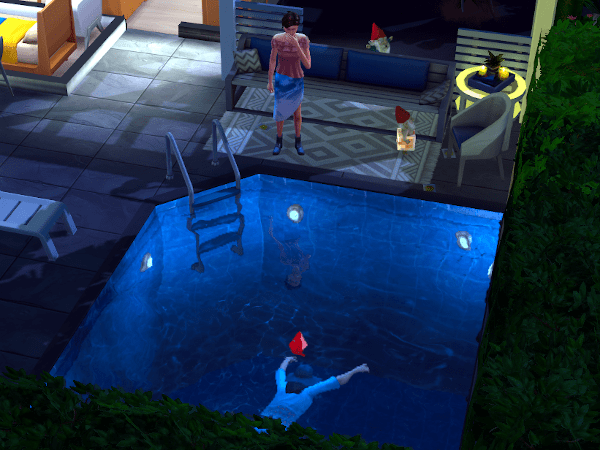 Sim dead in a pool