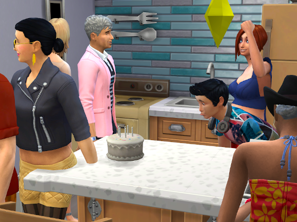 Teenage sim blowing out birthday candles