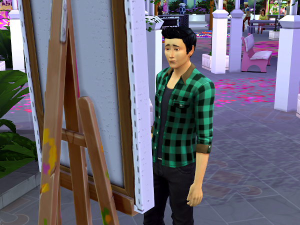 Sad Sim trying to paint