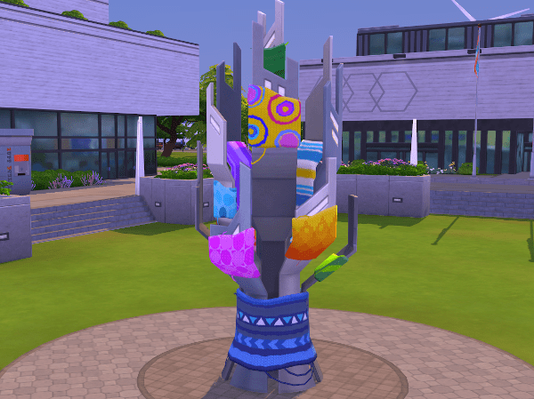 Yarnbombed statue The Sims 4