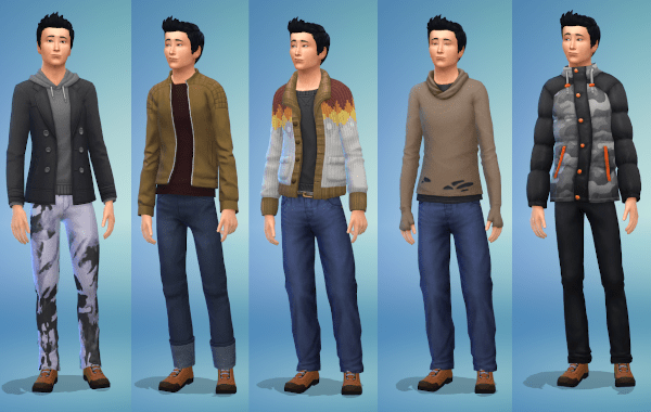 Sims 4 teen boy cold weather winter outfits