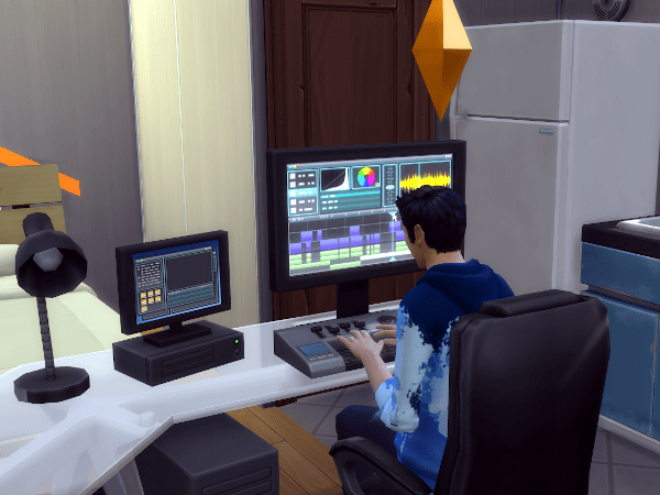 Sim editing video on the Video Production skill