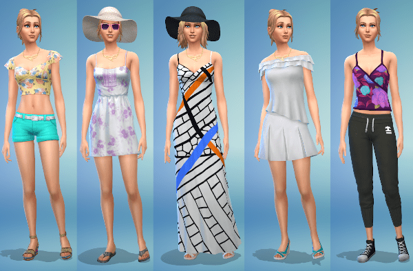 Sims 4 hot weather fashion for a young adult female Sim