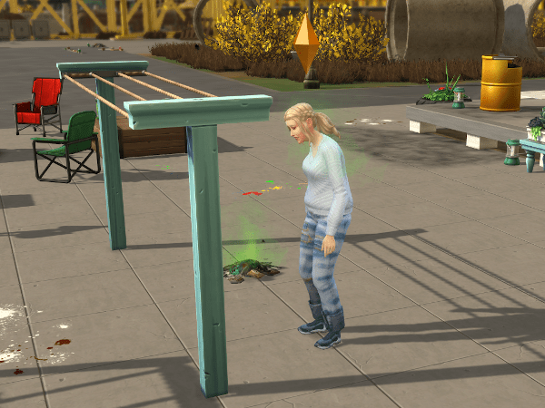 tired Sim standing by a clothesline