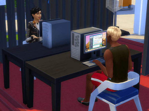 Sims 4 playing on the computer at GeekCon