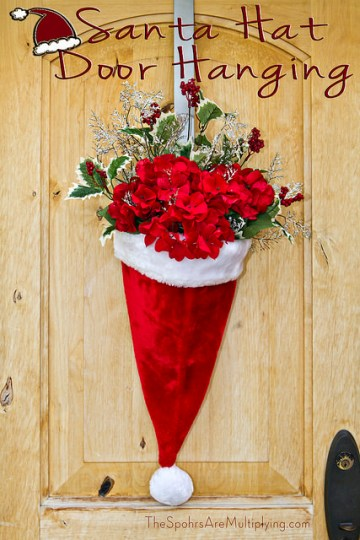 Santa Hat Door Hanging with Flowers