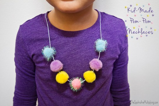 kid made pom pom necklaces