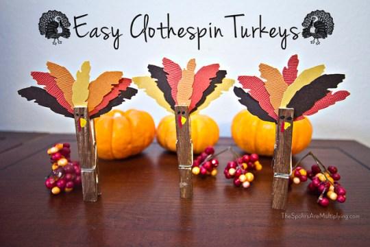 easy clothespin turkeys