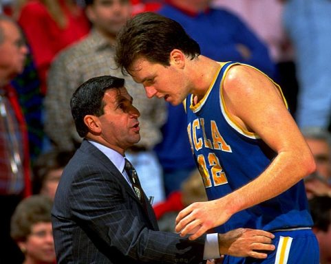 Don MacLean wearing number 42 with Coach Jim Harrick.  Listen about UCLA's rivalry with Arizona on the Sports Rivals podcast!