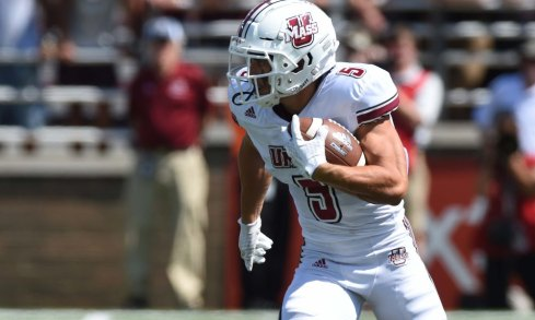 Sep 1, 2018; Chestnut Hill, MA, USA; Massachusetts Minutemen wide receiver Andy Isabella (5) runs the ball during the first half against the Boston College Eagles at Alumni Stadium. Mandatory Credit: Bob DeChiara-USA TODAY Sports