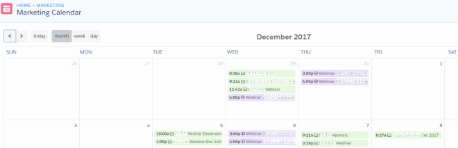 Pardot Marketing Calendar Lightning