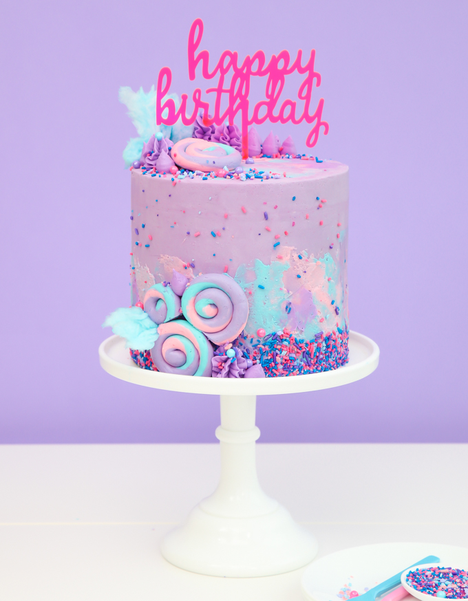 Easy Gorgeous Swiss Buttercream Cotton Candy Cake