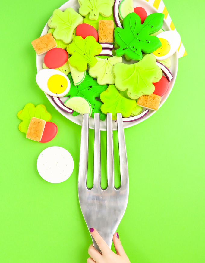 salad sugar cookies on plate with giant silver fork