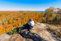woman photographer outdoors Superior Hiking Trail fall