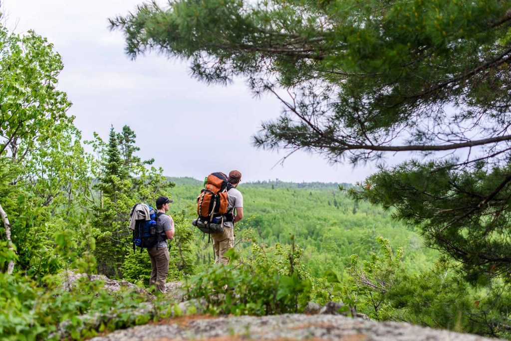 Two hikers look out over a wooded point.