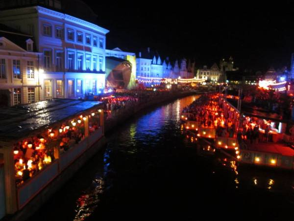 This is a picture of a night time view over Korenlei during Gentse Feesten