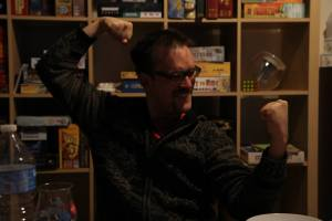 This is a picture of Jo Lefebure, founder of Board Game Nights in Ghent, Belgium
