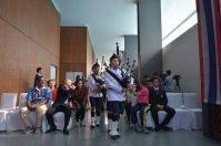 Teams were led in by bagpipers