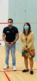 Tournament Director Tahir with US Squash Board Member Soo Venkatesan