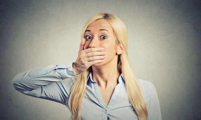 shocked blonde woman