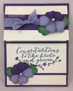Purple Pansies Wedding Card