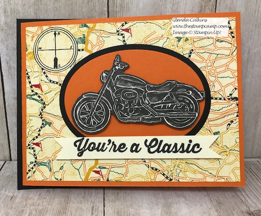 This is my featured stamp set for May Geared Up Garage. This is a great card for Father's Day or Birthday's. Details on my blog: www.thestampcamp.com #garagegear #stampinup #thestampcamp #masculine #motorcycle