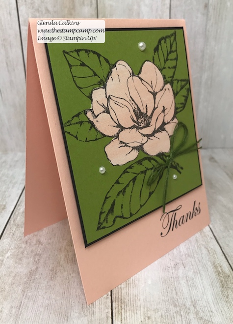 This is the Good Morning Magnolia stamp set from Stampin' Up! This beautiful flower can be colored in so many different ways. This was actually paper pieced using Designer Series Paper. See my Blog Here for details: https://wp.me/p59VWq-a9U #stampinup #thestampcamp #magnolia #handmadecards #stamps