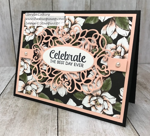 This is the Magnolia Lane Designer Series Paper and the Detailed Bands Dies from Stampin' Up! Details on my blog here: https://wp.me/p59VWq-aa2 #stampinup #dies #magnolia #thestampcamp #cards